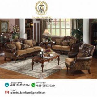 Sofa Set Tamu Ukir Jati Mewah Leonardo